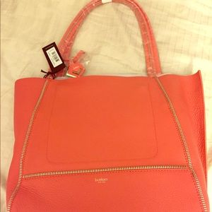 Last day! Botkier peach leather tote. NWT